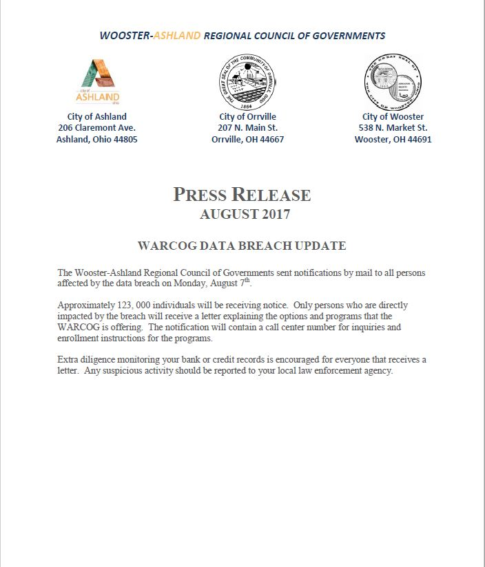 WARCOG Press Release August 2017